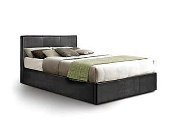 Ottoman Small Double Storage Bed Upholstered in Faux Leather, 4ft, Black