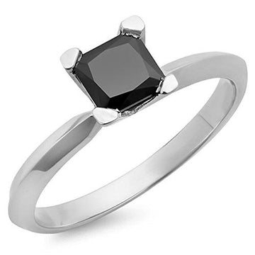 2.00 Carat (ctw) 10 ct White Gold Black Diamond Solitaire Bridal Engagement Ring 2 CT