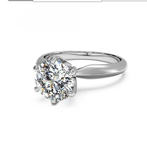 2.00 Ct Round Cut Moissanite Diamond Engagement Ring 14K White Gold Size J K L M N O P Q R S T