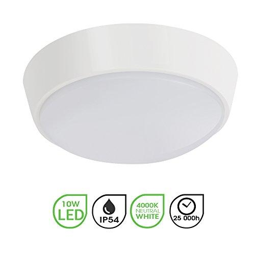 10W LED 4000K IP54 Round Circular Flush Wall Mounted Bulkhead Light Fitting for Indoor,Outdoor,Bathroom,Bath,Office,Kitchen,Hallway,Corridor,Utility,Garden,Garage,Shed,Workshop,Porch-White