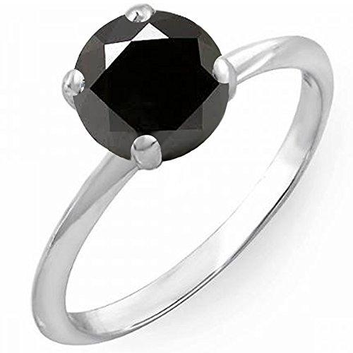 3.00 Carat (Ctw) 14 ct White Gold Round Black Diamond Bridal Engagement Solitaire Ring 3 CT