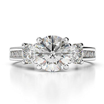 G-H/VS 0.68 Ct Round Cut Certified Diamond Engagement Ring in Platinum 950 AGDR-1218