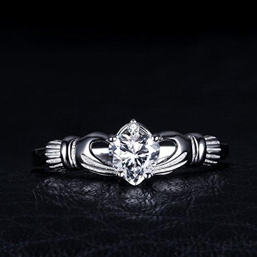 JewelryPalace Heart 0.7ct Irish Celtic Claddagh Sona Diamond Birthstone Promise Ring 925 Sterling Silver otBRpcN
