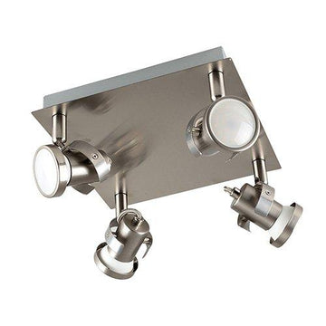 Modern Square Plate Satin Nickel 4 Way Adjustable Ceiling Spotlight - Complete with MiniSun 5w LED GU10 Bulbs [3000K Warm White]