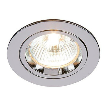 Modern Recessed 50W Fixed Twist & Lock Mains 240V LED Compatible GU10 IP20 Rated Chrome Ceiling Spot Downlight for Kitchen Bedroom Lounge etc.