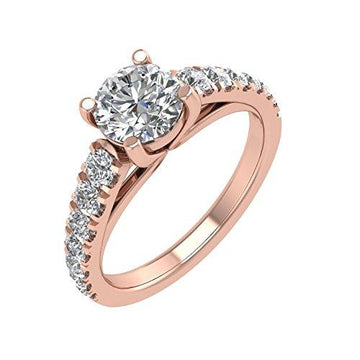 IGI Certified 14K Rose Gold Diamond Engagement Ring Band (1 1/4 Carat)
