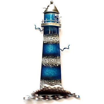 LIGHTHOUSE BLUE Metal Wall Art for Indoor or Outdoor use