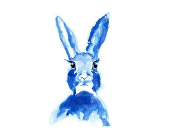Rabbit Print watercolour painting art framed hare bunny