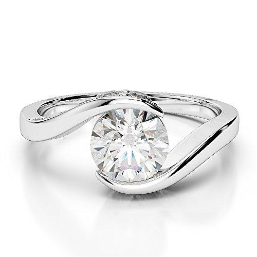 G-H/VS 0.69 Ct Round Cut Certified Diamond Engagement Ring in Platinum 950 AGDR-1209