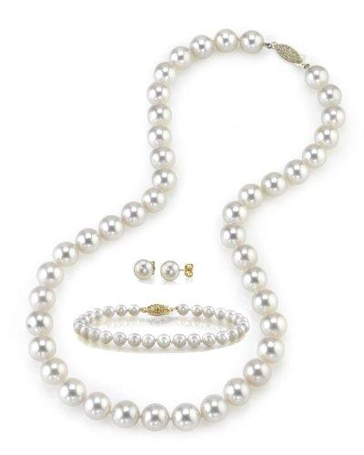 "8.0-8.5mm White Akoya Cultured Pearl Necklace, Bracelet & Earrings Set, 18"" Princess Length - AA+ Quality"
