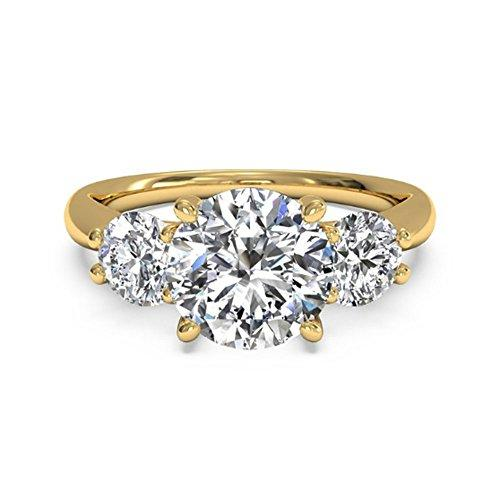 Color H-I Clarity VVS1 Natural Moissanite Womens Engagement Rings 14K Solid Gold Certified 1.30Ct Moissanite Round Cut Wedding Band BIS Hallmarked Gold Size J K L M N O P (14ct Yellow Gold, M)