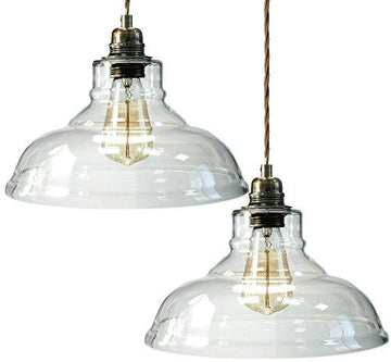 Pack of 2 Modern Vintage Glass Chandelier Shade Pendant Hanging Ceiling Light E27 - Clear Glass