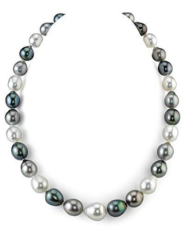 14K Gold 9-12mm Tahitian & South Sea Multicolor Baroque Cultured Pearl Necklace - AAA Quality, 16
