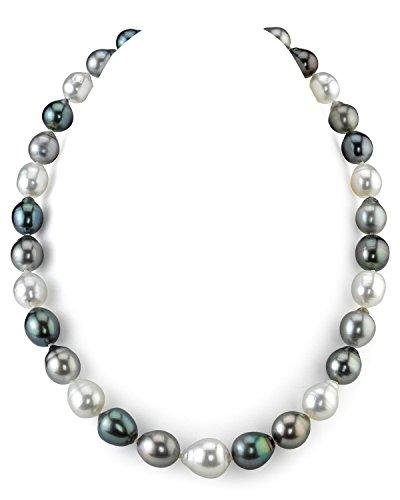 14K Gold 9-12mm Tahitian & South Sea Multicolor Baroque Cultured Pearl Necklace - AAA Quality, 16""