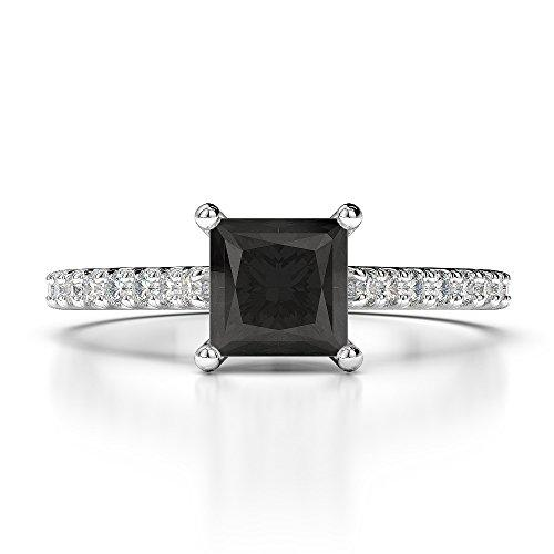 18Kt White Gold 1.17 Ct H-I Certified Princess Cut Black Diamond Engagement Ring AGDR-1217