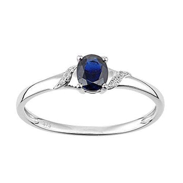Naava Women's 9ct White Gold Sapphire and Diamond Oval Gemstone Ring - Size N