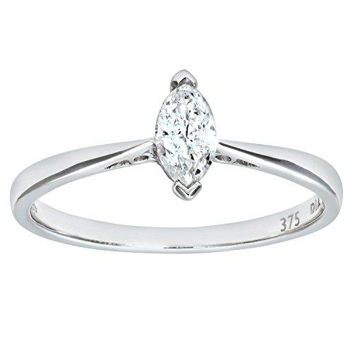 Naava Women's 9 ct White Gold Diamond Solitaire Engagement Ring With Marquise Diamond Solitaire, 1/4 ct Diamond Weight