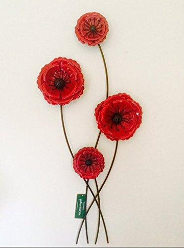 Metal Wall Art Red Poppy Flower Contemporary Garden Home Gift/Present
