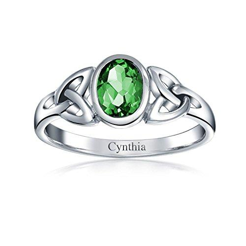 Bling Jewelry Simulated Emerald Glass Celtic Knot Triquetra Sterling Silver Ring