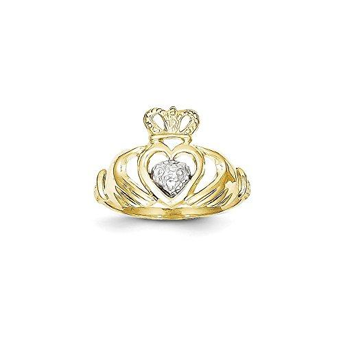 10k & Rhodium Claddagh Ring