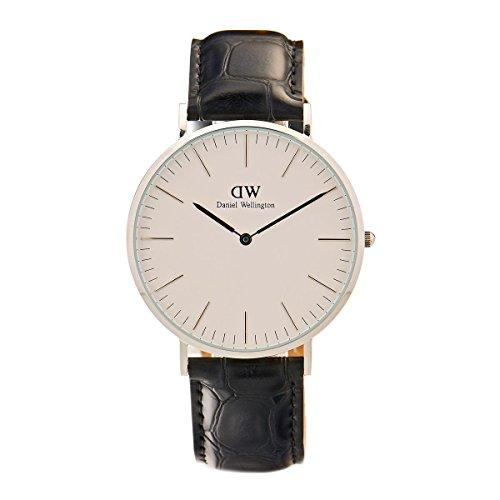 Daniel Wellington Classic Men Quartz Watch with Analog Display and Black Leather Strap - DW00100028