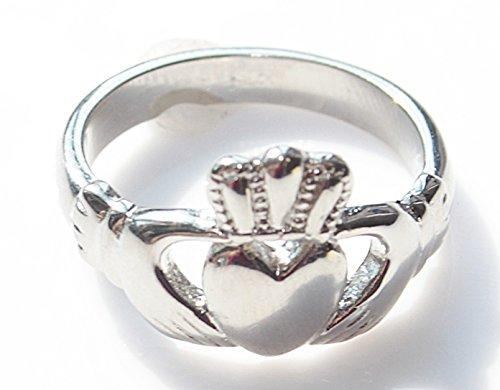 Ah! Jewellery Women's Stainless Steel Celtic Claddagh Ring. Beautifully Set Traditional Design. 4GR Total Weight. Outstanding Quality Finish.