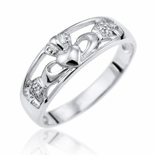 Kareco 9ct White Gold Ladies' Diamond Set Celtic Claddagh Ring Size V