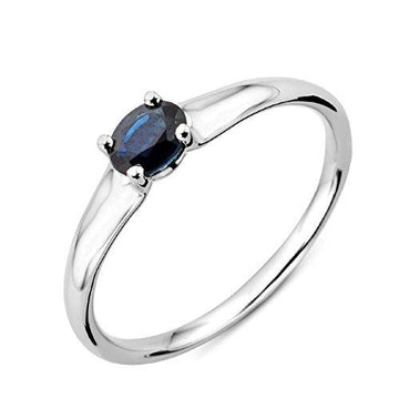 Miore 9ct White Gold Blue Sapphire Engagement Ring- Size L 1/2