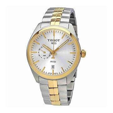 Tissot T101.452.22.031.00 Men's Watch PR 100 Gent Dualtime Silver/Gold 39mm Stainless Steel
