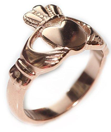 Ah! Jewellery Women's Rose Gold Over Stainless Steel Celtic Claddagh Ring. Beautifully Set Traditional Design. 4GR Total Weight. Outstanding Quality Finish.