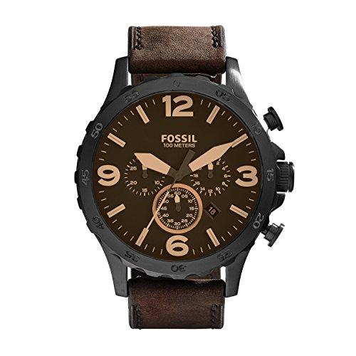 FOSSIL Nate Chronograph Brown Leather Watch/Analogue Men's Watch with Quartz Movements/Brown Leather Strap and Black Round Stainless Steel Case - 10 ATM Water resistant