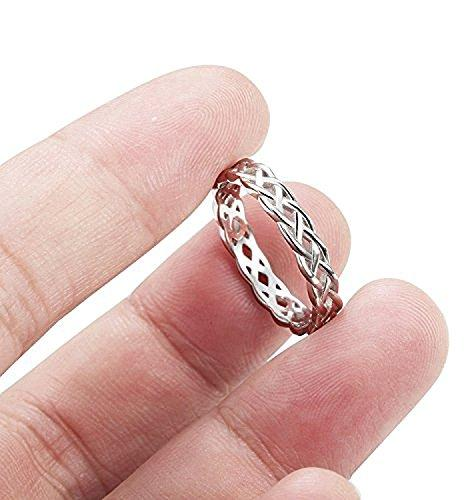 925 Sterling Silver Celtic Knot Eternity Ring Irish Engagement Wedding Band