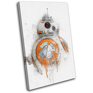 Bold Bloc Design - Star Wars BB-8 Abstract Movie Greats 45x30cm SINGLE Canvas Art Print Box Framed Picture Wall Hanging - Hand Made In The UK - Framed And Ready To Hang