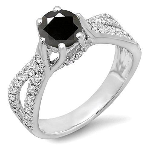 1.14 Carat (ctw) 14 ct White Gold Black And White Diamond Bridal Engagement Split Shank Ring