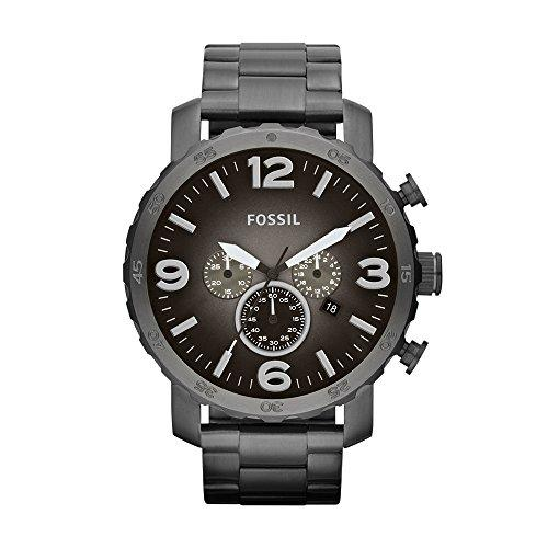 FOSSIL Nate Chronograph Smoke Stainless Steel Watch/Analogue Men's Watch with Quartz Movements, Stopwatch and Timer Functionality - 5 ATM Water resistant