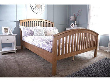 4'6 Double Wooden Curved High End Bed Frame - Oak *BRAND NEW*