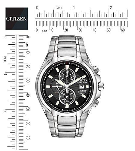 Citizen Men's Eco Drive Watch with Black Dial Chronograph Display and Silver Titanium Bracelet CA0260-52E