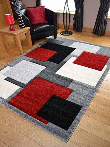 Tempo Silver Red Square Design Thick Quality Modern Carved Rugs. Available in 6 Sizes (160cm x 220cm)