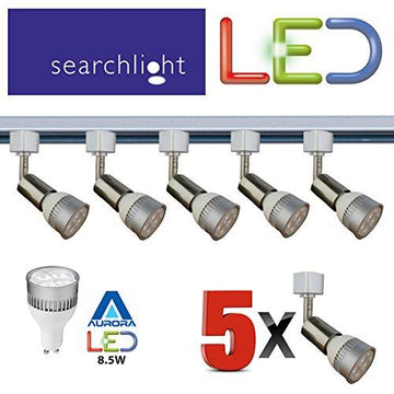 SEARCHLIGHT LED GU10 SATIN SILVER TRACK LIGHTING 5 X SPOT LIGHTS - 5 X 8.5 WATT LED GU10 INCLUDED - 2 METRE LENGTH - GREAT KITCHEN LIGHT / OFFICE / SHOP LIGHTING - BRIGHT LED'S 50,000 HOUR LIFE - ENERGY SAVING - STS