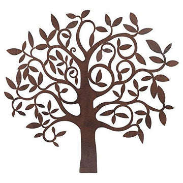 Large Rusty Finish Metal Tree Garden or Home Wall Art Ornament