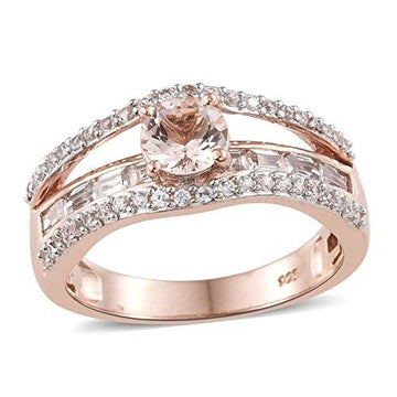 Marropino Morganite, Zircon Ring in Rose Gold Overlay Sterling Silver 2.25 Ct