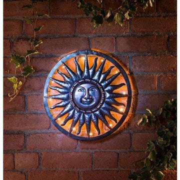 NEW Charming Bronze Effect Solar Sun Metal Wall Art