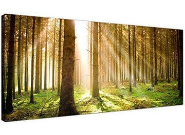Wallfillers Modern Canvas Prints of Forest Trees for your Dining Room - Large Landscape Wall Art - 1042