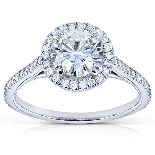 Round Moissanite and Diamond Engagement Ring 1 1/4 CTW in Platinum_8.0