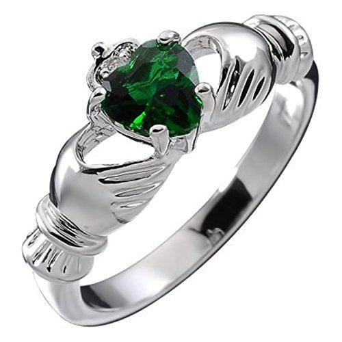 GWG® Sterling Silver Claddagh Love Ring for Women with Emerald Green Heart CZ Stone, Hands, and Crown – 6