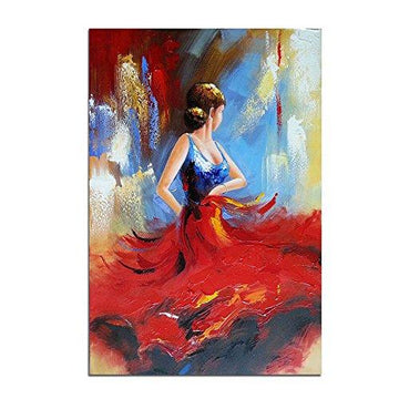Wieco Art Flying Skirt Modern Stretched and Framed Artwork Abstract Dancing People Oil Paintings on Canvas Wall Art Ready to Hang for Living Room Bedroom Home Decorations Wall Decor
