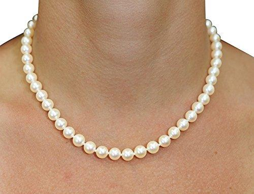 7-8mm White Freshwater Cultured Pearl Necklace, 18 Inch Princess Length