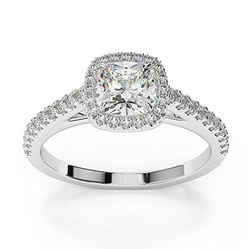G-H/VS 0.63 Ct Cushion Cut Certified Diamond Engagement Ring in Platinum 950 AGDR-1212