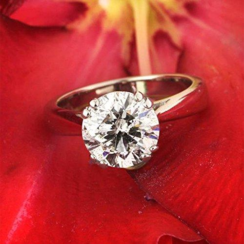 2.50 Ct Round Moissanite Diamond Engagement Ring Sterling Silver White Gold Finish Size M N O P Q