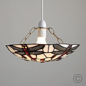 Tiffany Style Titania Antique Red And White Glass And Jewelled Uplighter Dragonfly Design Ceiling Lamp Pendant Stained Glass Shade